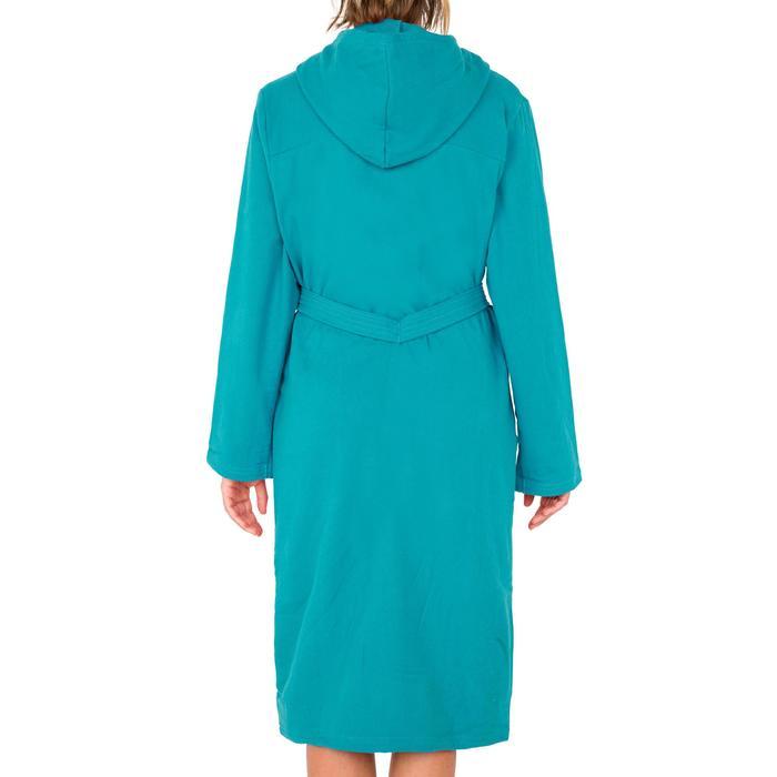 Lichte katoenen badjas voor dames bindceintuur en capuchon blauw groen