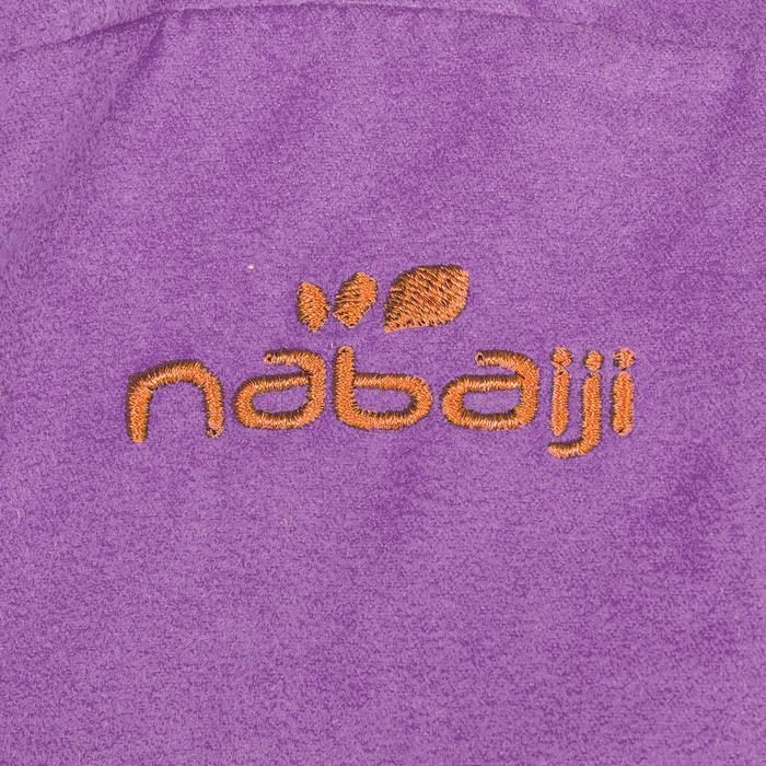 Albornoz microfibra niños violeta con capucha, bolsillos y cinturón