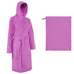 Pack albornoz y toalla L (80x130 cm) microfibra mujer violeta