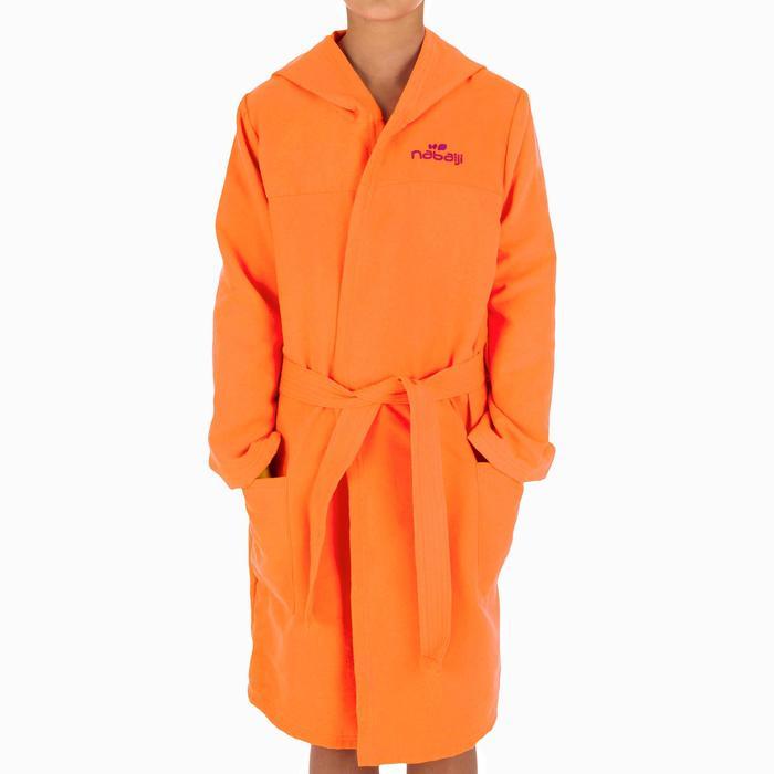 Set microvezel badjas en handdoek voor kinderen L 80x130 cm oranje Nabaiji