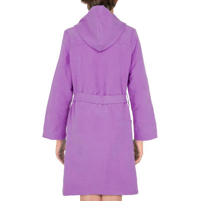 Peignoir enfant microfibre violet avec capuche, poches et ceinture
