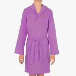 Bademantel Mikrofaser mit Kapuze Taschen Gürtel Kinder violett