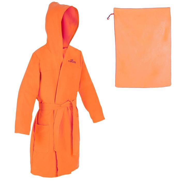Set Bademantel und Mikrofaser-Badetuch L 80 × 130cm Kinder orange