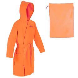 Set microvezel badjas en handdoek L (80x130 cm) voor kinderen oranje