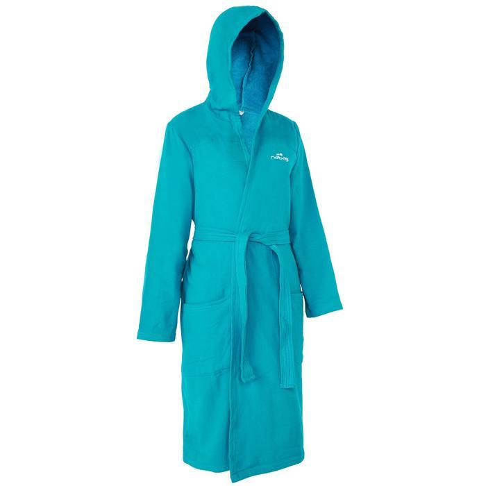 Lichte katoenen damesbadjas met capuchon, zakken en bindceintuur blauw.