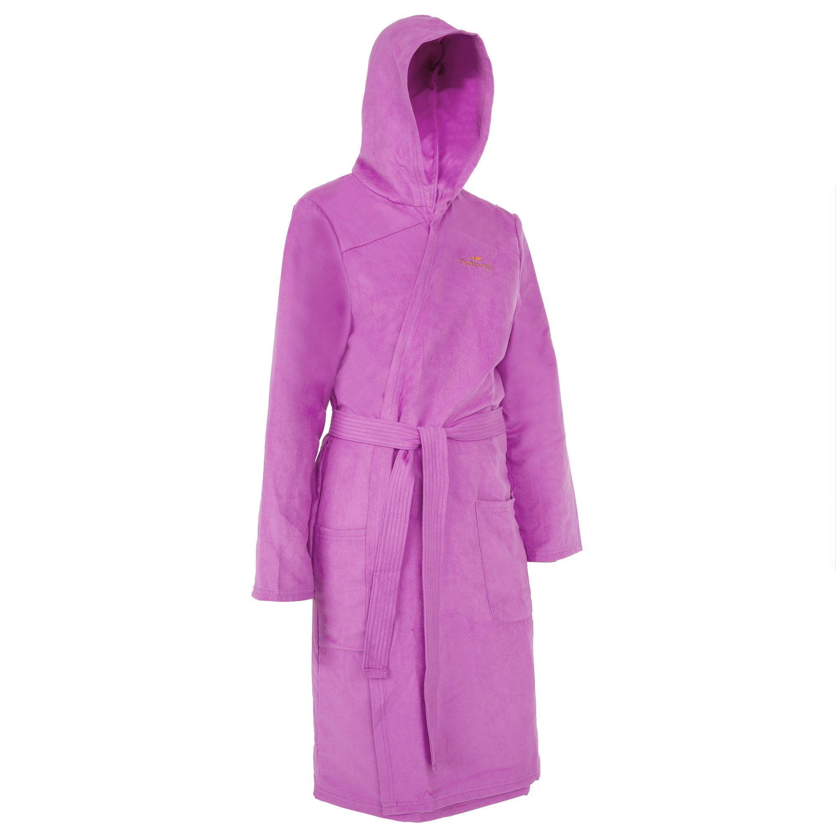 Nabaiji Microvezel kinder badjas met capuchon, zakken en bindceintuur paars