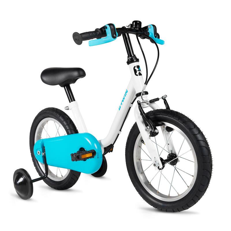 จักรยานขนาด 14 นิ้วสำหรับเด็ก 3-5 ขวบรุ่น 100 Petitbleu (สีขาว/ฟ้า)