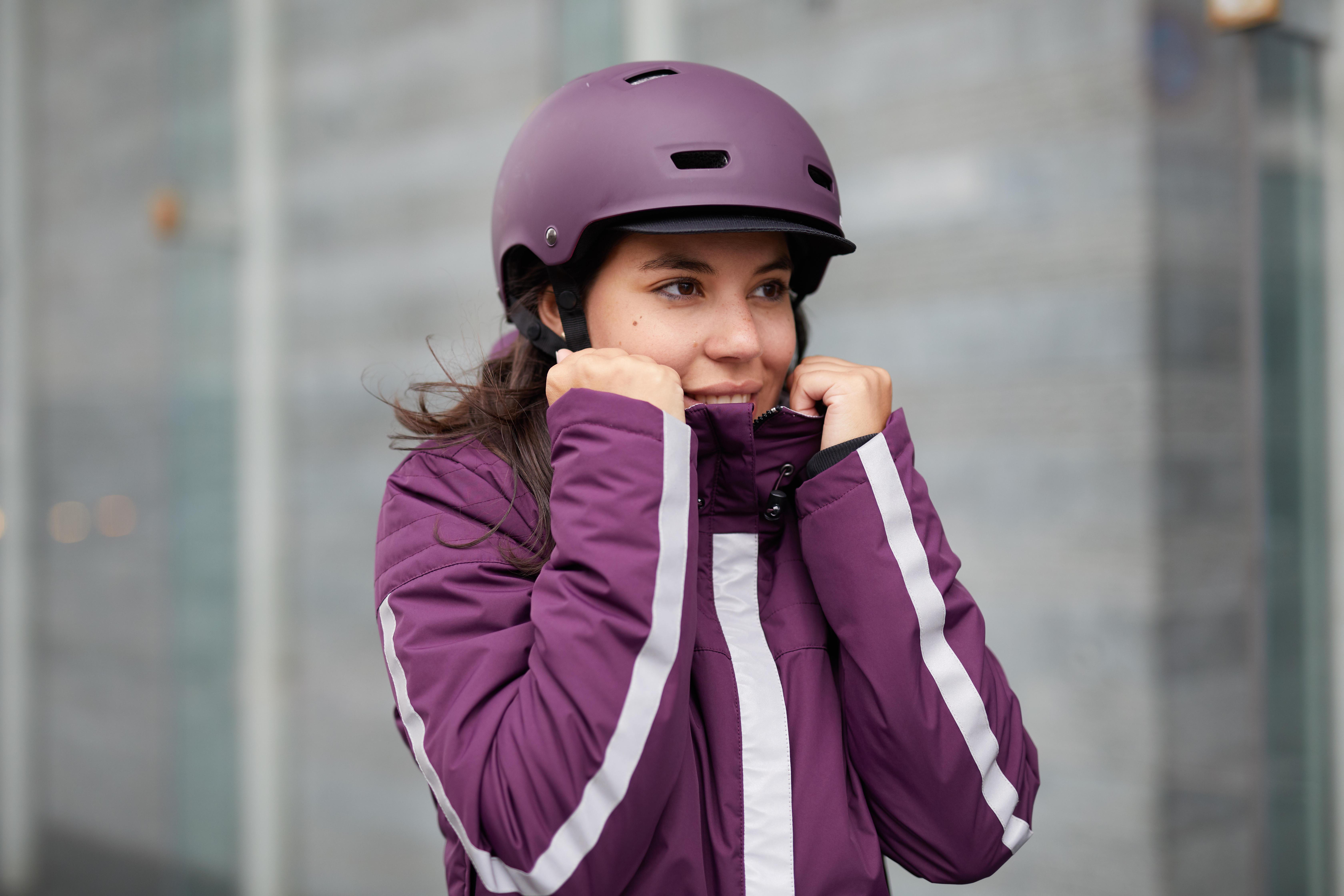 Veste Femme 900 Chaude Prune Vélo Pluie LMqUGSpzV