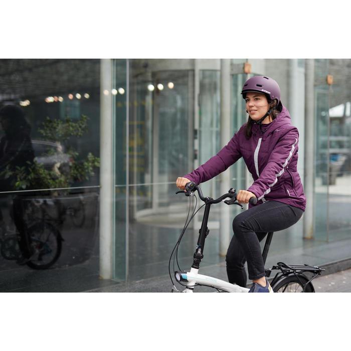 Veste Pluie chaude Vélo 900 Femme Prune
