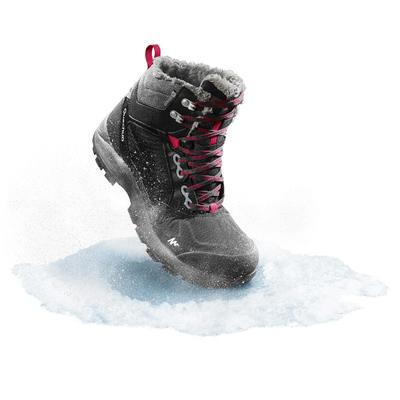 Botas de Nieve Apreski Impermeables Mujer Quechua SH520 X-Warm Negro Caña Media