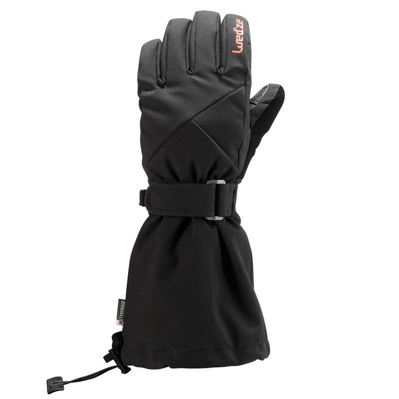 JUNIOR ON PISTE SKIING GLOVES Ski Wear - JR D-SKI GLOVE 500 - BLACK WEDZE - Ski Wear
