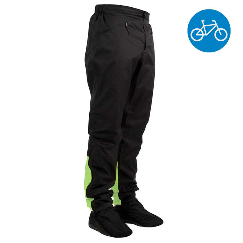 RAIN WEATHER CITY CYCLING APPAREL & ACC Cycling - 900 Urban Waterproof Cycling Trousers - Black/Lime B'TWIN - Bike Accessories