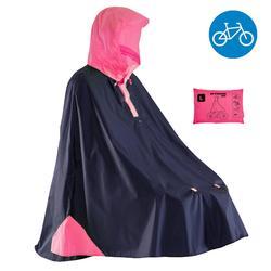 Regenponcho fiets 500 blauw/roze - poncho