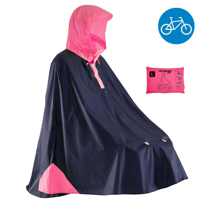 RAIN WEATHER CITY CYCLING APPAREL & ACC Clothing - 500 Cycling Rain Poncho - Blue B'TWIN - By Sport