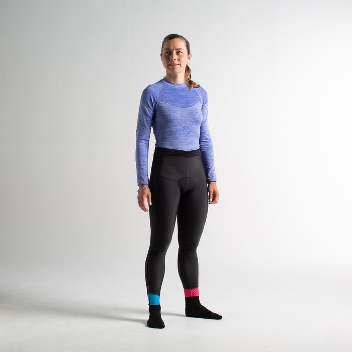 Wielrenbroek lang zonder bretels voor dames 900 zwart