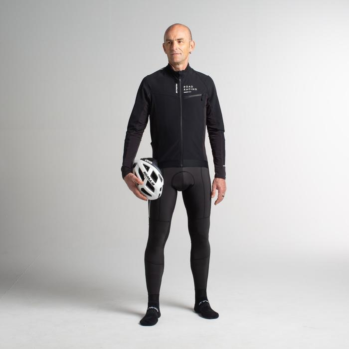 公路自行車冬季長版短褲500 - 黑色
