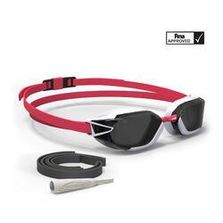 Gafas Natación 900 B-FAST Negro Rojo Cristales Ahumados