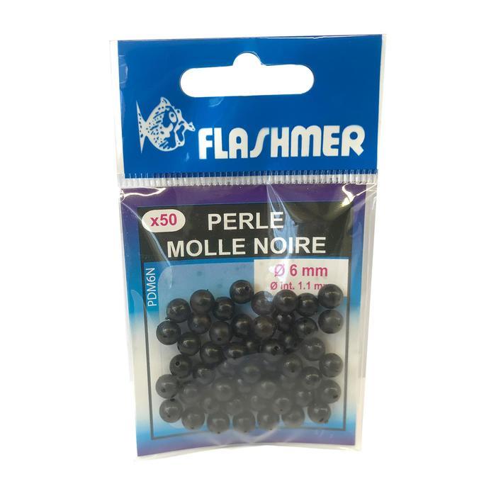 Perles molles noires 6mm x50 pêche en mer