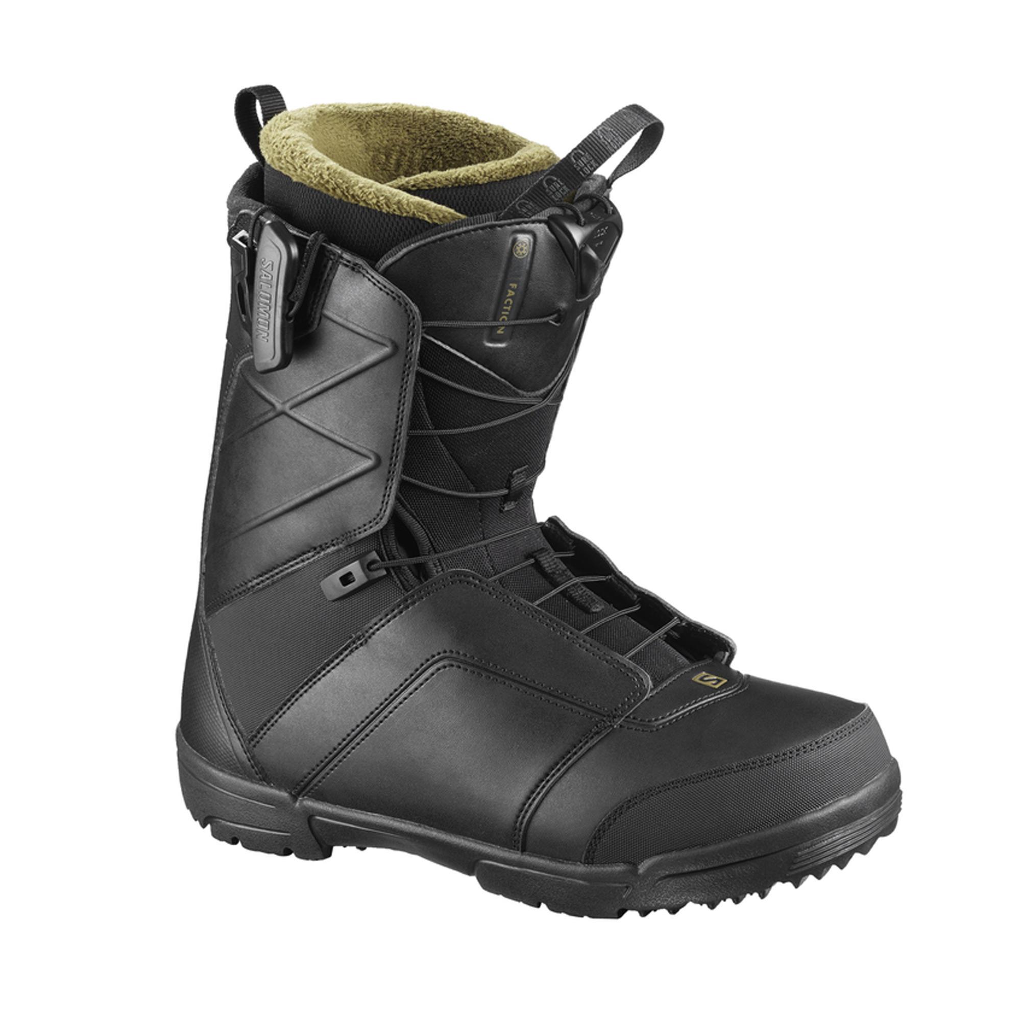 Chaussures de snowboard homme all mountain, Faction Zone Lock, noires - Salomon
