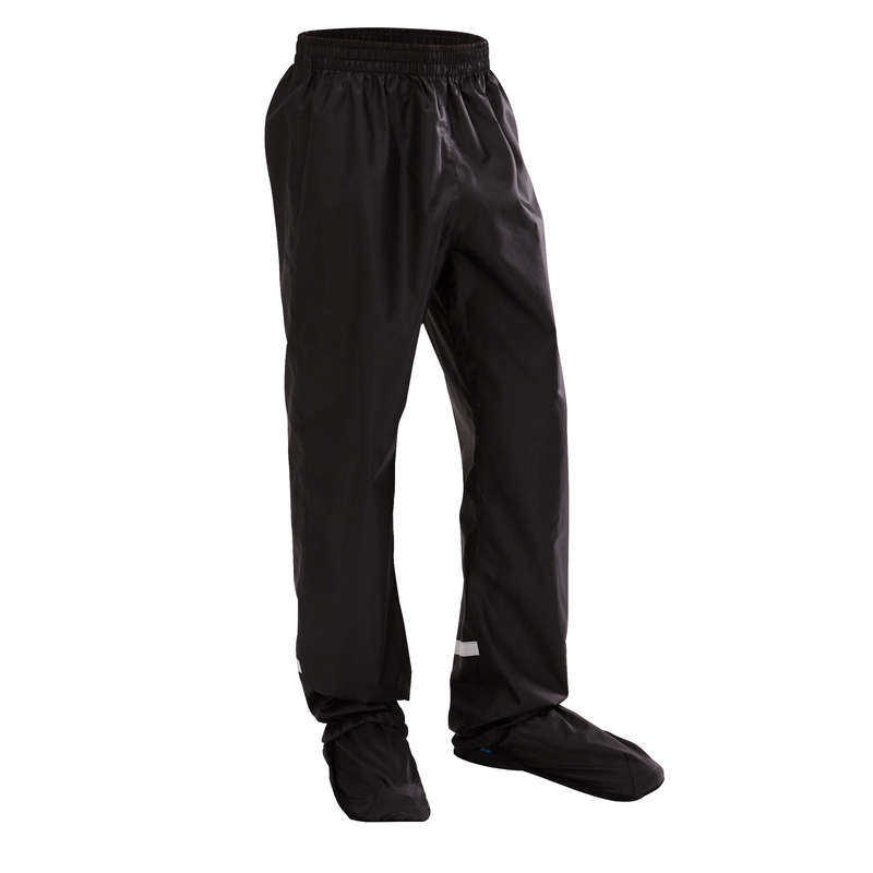 CITY JUNIOR WET WEATHER CYCLING APPAREL - 300 Junior Waterproof Cycling Overtrousers - Black BTWIN
