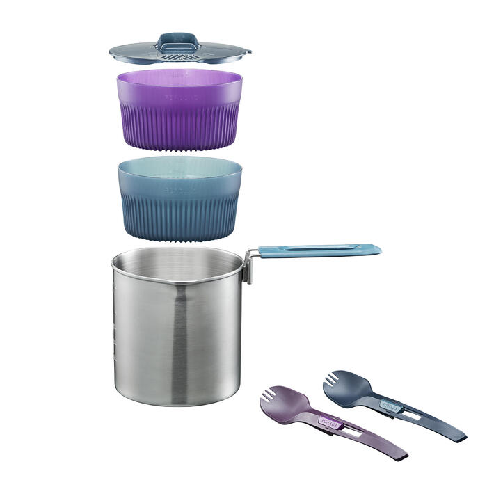 Trekking Cooking Set in Stainless Steel for 2 People - TREK 500 1.6 Litres