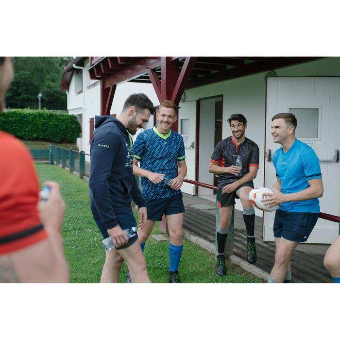 Rugby-Hoodie Kapuzen-Sweatshirt R100 Herren blau