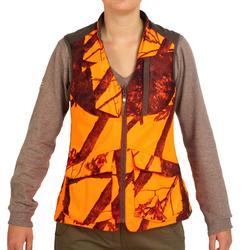 Omkeerbaar jachtvest voor dames 500 bruin / fluocamouflage