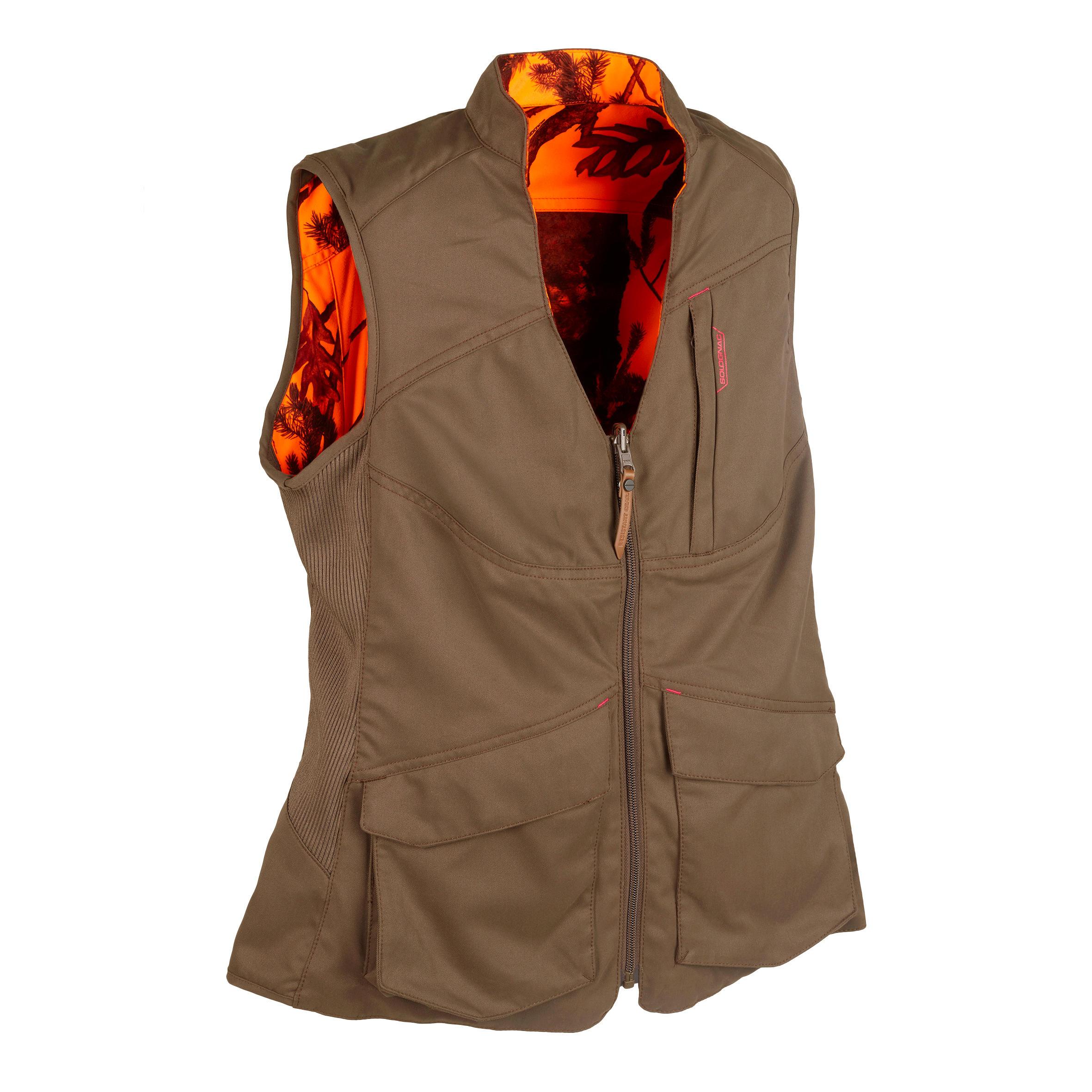 Solognac Omkeerbaar jagersvest 500 voor dames bruin / fluocamouflage