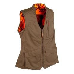 GILET CHASSE FEMME REVERSIBLE 500 MARRON / CAMOUFLAGE FLUO