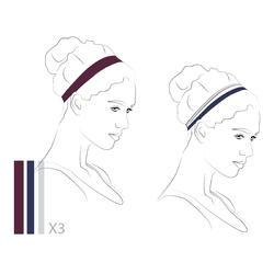 Elastische hoofdband (set van 3) voor dames zwart/paars/blauw