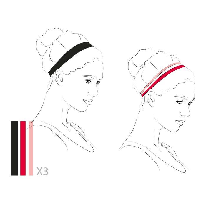 Elastisches Haarband (3er-Set) Damen schwarz/grau/rosa
