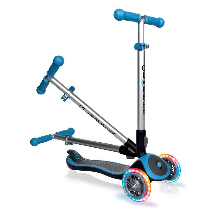 Patinete Scooter Globber Niños Luces de Colores Azul