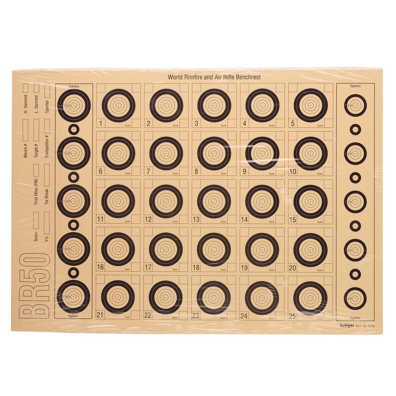 25 CIBLES DE BENCHREST BR50. 42 cm x 30 cm