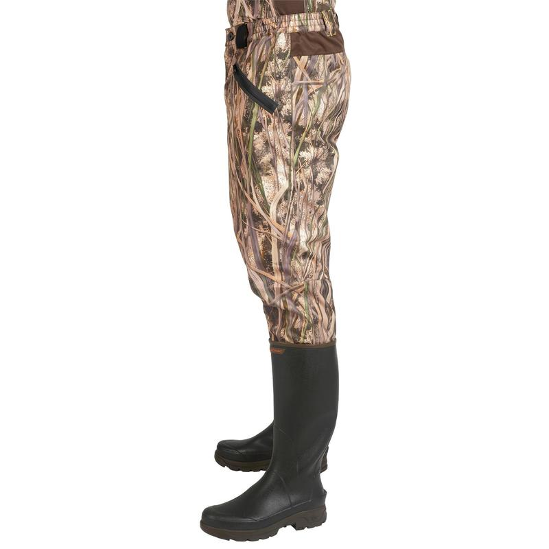 9e825722ac9c4 500 waterproof hunting trousers with wetlands camo | Solognac