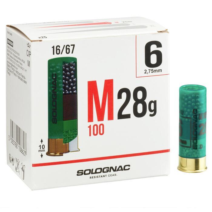 CARTUCHO M100 CALIBRE 16/67 28 g PERDIGÓN N°6 x 25