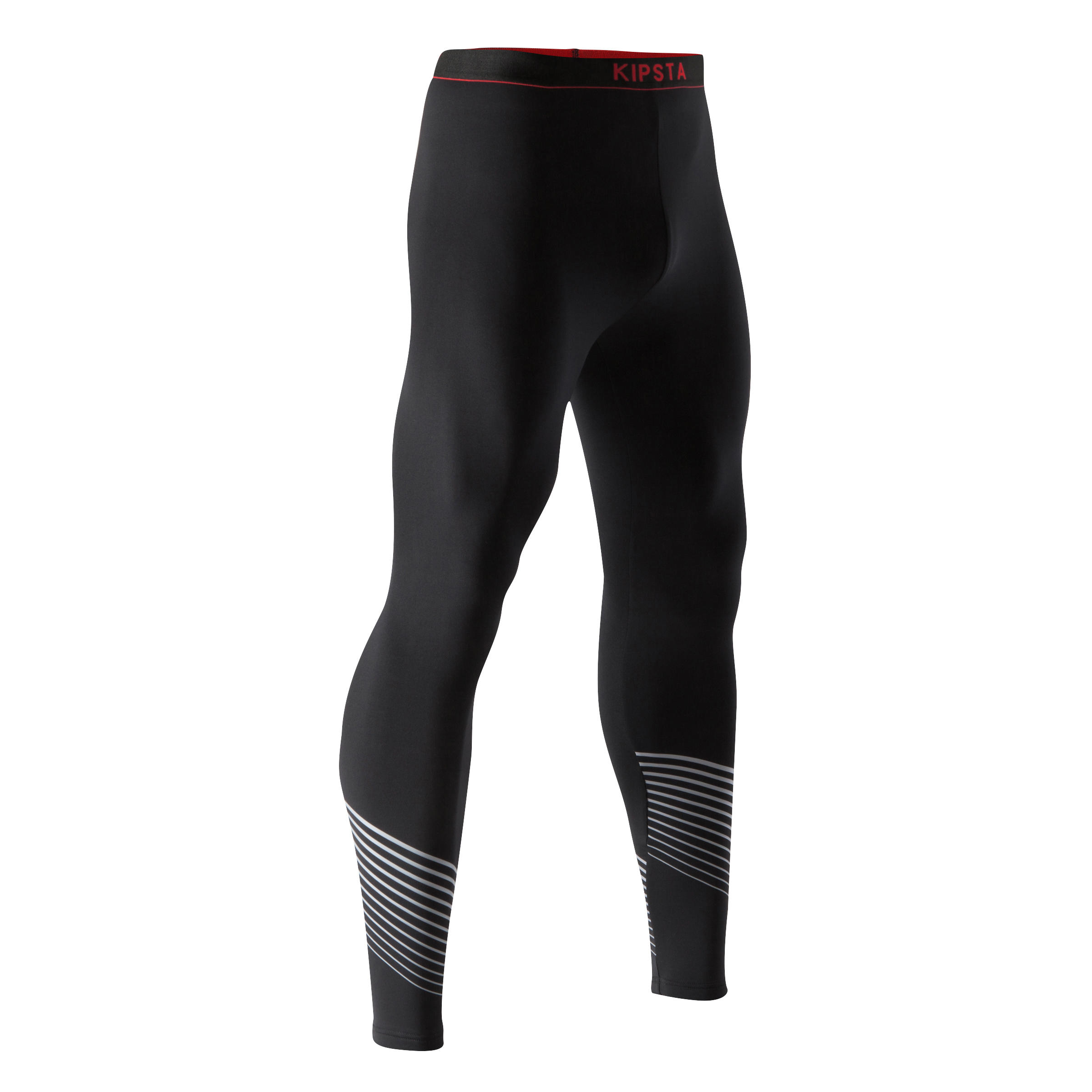 Keepdry 900 Adult Warm & Breathable Tights - Black with Red Waistband