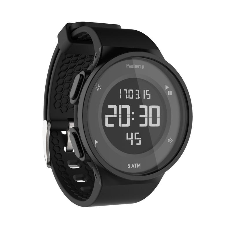 Montre chronomètre de course à pied W500 M noire écran reverse