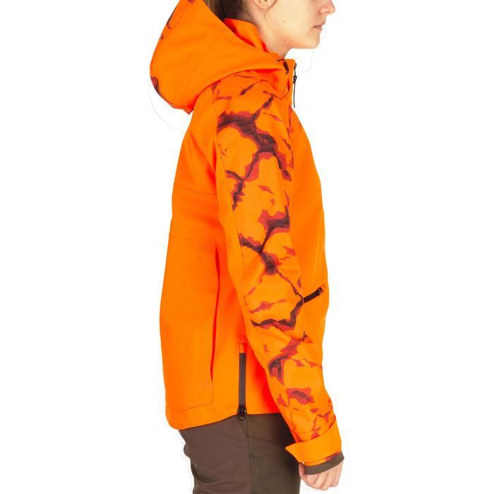 Chaqueta Caza Solognac Supertrack Mujer Impermeable Reforzada Naranja Fluo