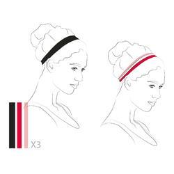 Elastische hoofdbanden (set van 3) voor dames zwart, grijs en roze