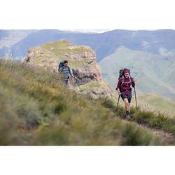 T-shirt manches longues zip laine mérinos trek montagne - TREK 500 violet femme