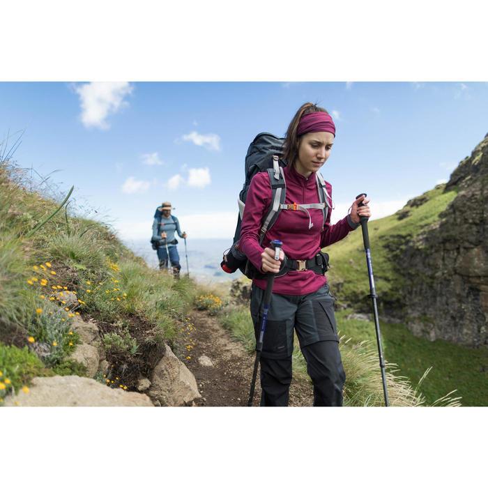 Merino shirt met lange mouwen voor bergtrekking Techwool 190 zip dames roze