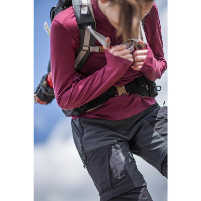 Merinoshirt langarm Techwool 190 mit Reißverschluss Damen rosa