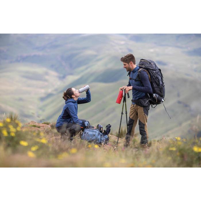T-shirt mérinos manches longues de trek montagne | TREK 900 marron homme