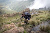 T-shirt manches longues randonnée montagne RANDO900 mérinos homme bleu