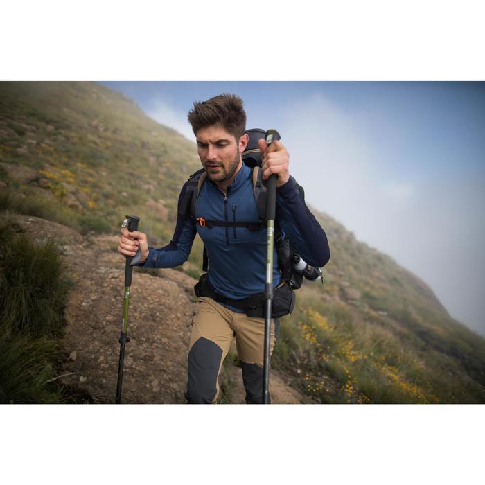 Merinoshirt met lange mouwen voor bergtrekking heren Trek 900 blauw