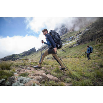 T-shirt mérinos manches longues de trek montagne - TREK 900 bleu homme