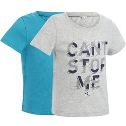 Set van 2 T-shirts 100 korte mouwen peuter- en kleutergym wit blauw print