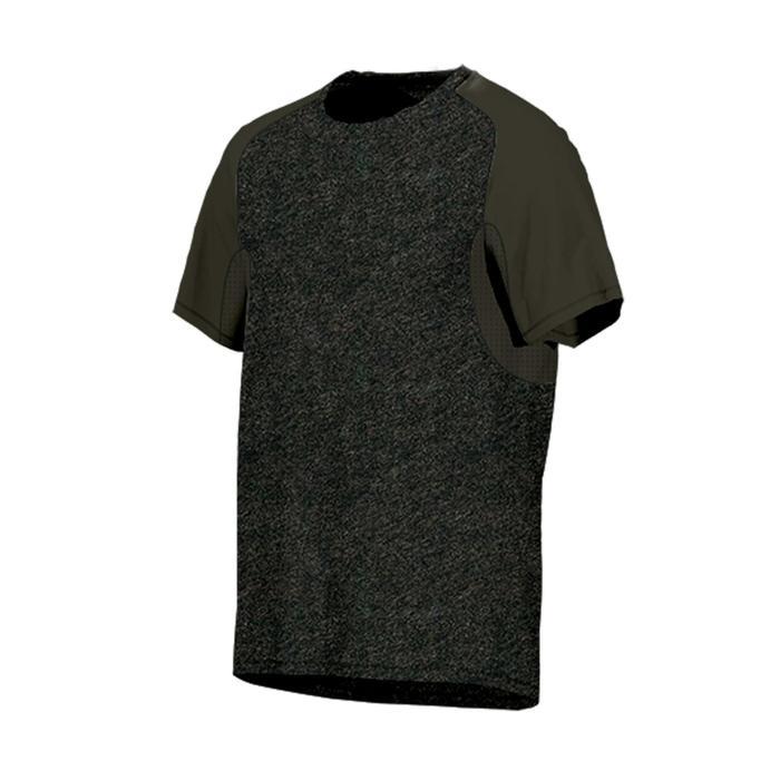 T-shirt voor pilates/gym heren 520 regular fit gemêleerd kaki