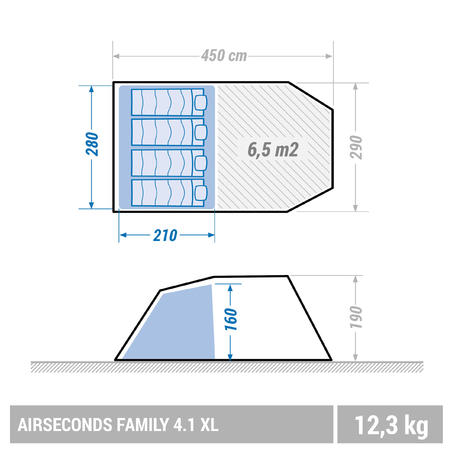Air Seconds 4.1 Inflatable Camping Tent | 4 People 1 Bedroom