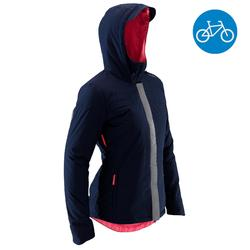 Women's Cycling Warm Rain Jacket 900 - Navy Blue